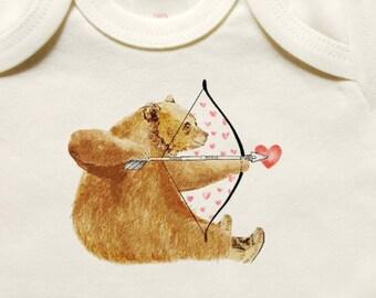 Archery bow and arrow bear, organic baby clothes, onesie, gender-neutral, unisex, hearts, cute