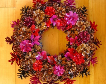 """Handmade Natural Earthy Bright Fall Colors Pine Cone Wreath Center Piece 15"""""""