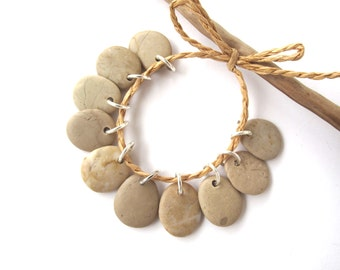 Beach Stone Charms Top Drilled Rock Beads Mediterranean River Stone Beads Diy Jewelry Natural Stone Pairs SMALL BEIGE MIX 16-17 mm