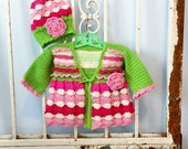 Sweatheart Valentine Baby Sweater Pattern Baby Girls Toddlers Size 0- 24 months