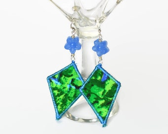 BOHO SILK EARRINGS, textile jewellery, boho jewellery, festival earrings, upcycled jewellery, diamond shape, green and blue, flowers, ooak