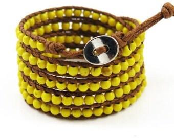 beaded wrap bracelet wrap bracelet beaded wrap yellow boho wrap bracelet boho bracelet handmade bracelet wax rope wrap women wrap bracelet
