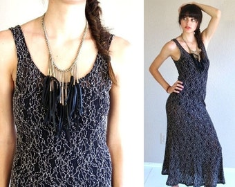 vtg 90s black SHEER Lace MAXI grunge DRESS xs/s gypsy bandage revival mesh tight bodycon witchy goth
