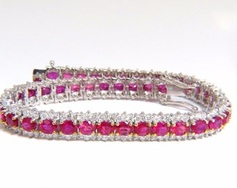 13.81ct bright vivid red natural ruby tennis bracelet 14kt three row