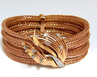 Vintage Argentina Republic 18kt Flex Mesh Tubular .50ct. Diamonds Bracelet