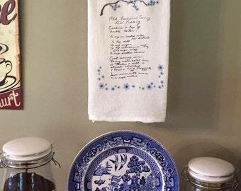 Custom Tea towel Handwritten Recipe Sentimental Gift Forget Me knots Cherry Blossoms love mom's cooking mom recipes on tea towel beautiful