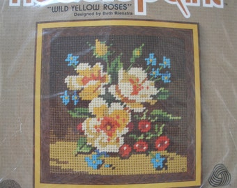 "Vintage Jiffy Needlepoint Kit - Wild Yellow Roses No. 5211 Picture 5""x5"" wall hanging Sunset Designs 1981 Beth Rienstra NIP"