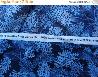 "Dark Blue Leaves Cotton Quilt Fabric 2.6 Yards 44""W x 97"" L yardage Cranston Print Works VIP Made in USA Screen Print"