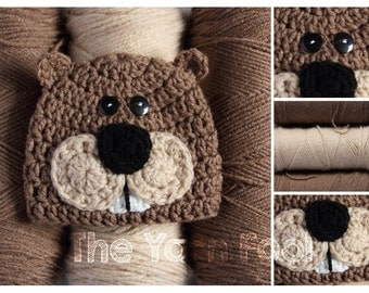 Newborn, Infant, Youth, Teen, Adult Sized Crochet Beaver or Groundhog Hat