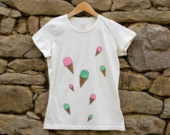 Organic Cotton Ice Cream T-Shirt, Size S Hand Painted Tee in Natural White, Eco Friendly Apparel, Pastry Fashion