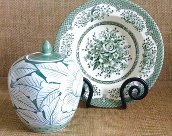 Set of 2 Green and White Ceramic Decor--Green and White Pottery--Transferware