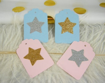 Twinkle Twinkle Star baby Shower Gift Tags / Pink and Gold Party / Blue and Silver / Pick your color / set of 12