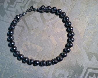 Necklace; Grey Pearls