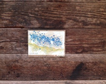 Blueberry Day - Original Watercolor - 4inx6in
