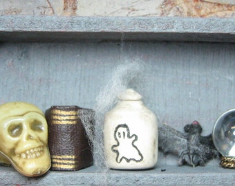 Boo Brew dollhouse miniature spooky Halloween potion bottle ceramic jar fits 1:12 scale one inch and playscale