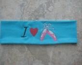 I Love Ballet Embroidered Headband, Party Favor Headband, Headband for kids, teens and women