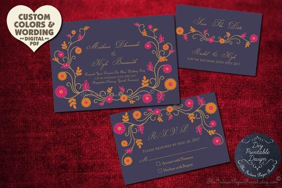 Reserved for Lisa - Save The Date Card INDIAN SUMMER Wedding Custom Design Floral Invitation Elegant Thai Pakistani Asian Boho Chic Trend