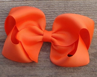 Boutique Hair Bow~Orange Boutique Bow~Large Boutique Bow~Basic Boutique Bow~Simple Boutique Bow~Newborn Hair Bows~Toddler Bows~Fall Hair Bow