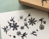 Flying Snow Fairies Rubber Stamp 6208