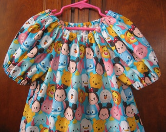 Girls Summer Top or Dress - Tsum Tsum, Mickey and Friends - Size 6M to Size 14