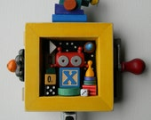50% OFF - Kids Room Decor - X Bot - Recycled Assemblage - Found Object Art - Mixed Media Assemblage by Jen Hardwick