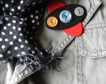 Art Brooch - Retro X/3 Buttons - Found Object Jewelry by Jen Hardwick
