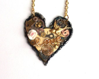 "Victorian Steampunk Necklace ""The Wings of Love"" Heart Necklace"