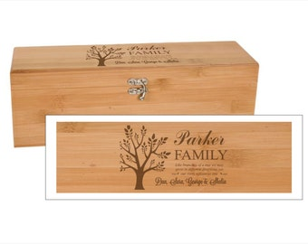 Family Tree Bamboo Wine Box With Tools - Personalized Engraved Wood Wine Box - Personalized Family Christmas Gift,Engraved Family Wine Gift