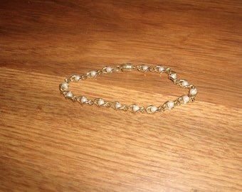 vintage bracelet goldtone braided chain faux pearls