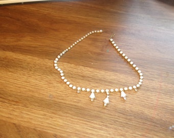 vintage necklace choker goldtone white prong set glass
