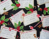Christmas Fabric,  Christmas Recipes,  Recipe Cards, By the Yard, Robert Kaufman