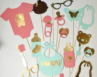 BABY SHOWER peach,mint and gold   photo booth props for baby showers~ baby girl photo booth props~ bib~onsie~butterflies~baby face props
