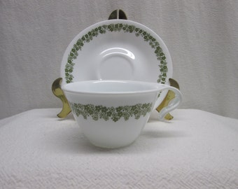 Corelle Ware Crazy Daisy or Spring Blossom, Coffee Cups and Saucers, kitchen collectibles