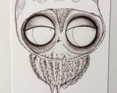 Owl in Cat Hat - 5x7 matte print