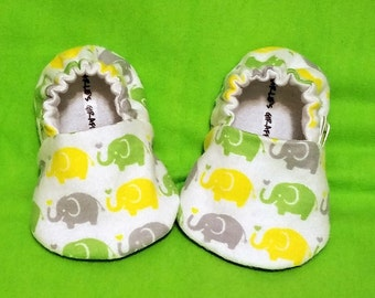 Elephant Baby Booties - Newborn, Infant, Baby Slippers, Crib Shoes, Footwear