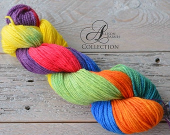 Hand Dyed Wool Yarn - Worsted Weight - Rainbow Carousel