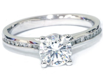 Diamond Engagement Ring F SI1 Solitaire Round Brilliant Cut Diamond Engagement Ring White Gold 1.31ct Clarity Enhanced 1carat Center