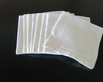 8 Classic White Linen Napkins 6/8 Inch Hemsitched Mitered Hems 17 by 17 Inches 62b