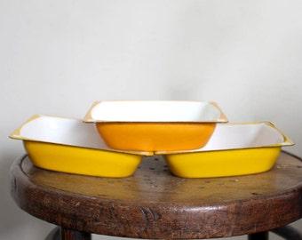 Vintage Enamelled Kitchen Dishes. Food Storage /Serving. Orange/ White. Soviet Russian Kitchen Enamelware