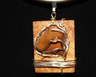 Silver Maple Burl and Stone Pendant, jewelry, slide, necklace silver plated wire wrapped