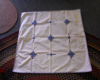 White With Blue Embroidery Table Cloth