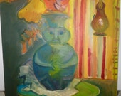 Paint on Canvas Board by Phillip Glassberg 1956 Face & Body Vessel On Table