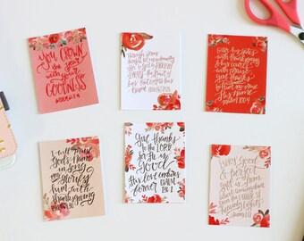6 Thanksgiving Gratitude Fall Watercolor Floral Scripture Cards Handlettered DIGITAL Download Bible Journaling Notecard Modern Calligraphy