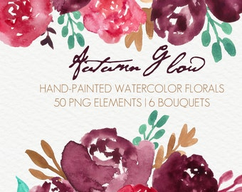 Autumn Glow Abstract Watercolor Flowers Floral Clip Art Digital Handpainted Roses Blooms PNG Wedding Invitation Small Commercial Use OK
