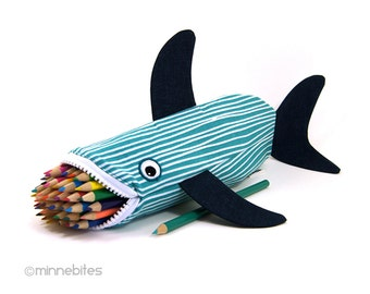 Out to Sea Shark Bag by MinneBites / Handmade Nautical Shark Pencil Case - Aqua Navy Scuba Gift - Desk Accessory School Bag - Ready to Ship