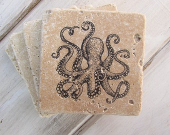 Natural stone coaster. Octopus Coasters.  Birthday Gift. Rustic Decor.  Set of Four Coasters. Gift. Wedding favors