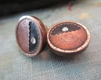 antique etched cufflinks - brass, copper, crystal, black, floral