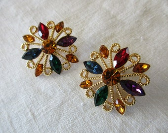 large Napier goldtone earrings - screw back, rhinestones, multi-colored, crystals, marquis