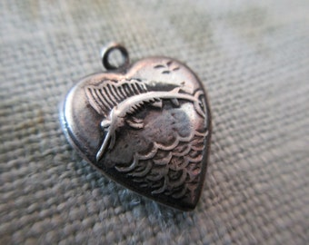vintage sterling silver heart charm - 20s, 30s, swordfish