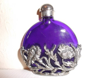 Vintage Cobalt Blue Glass Boudoir Bottle Art Nouveau Style Perfume Bottle